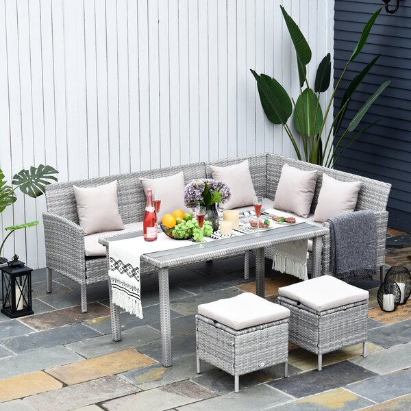 Ade 5 Piece Rattan Sectional Seating Group with Cushions by Ebern Designs