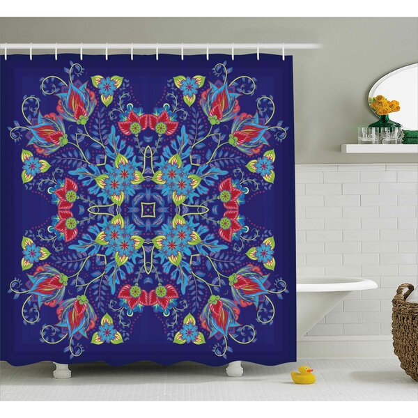Armbrust Bohemian Malaysian Floral Bouquet Embellish Ornamental Royal Asian Artisan Image Shower Curtain by World Menagerie