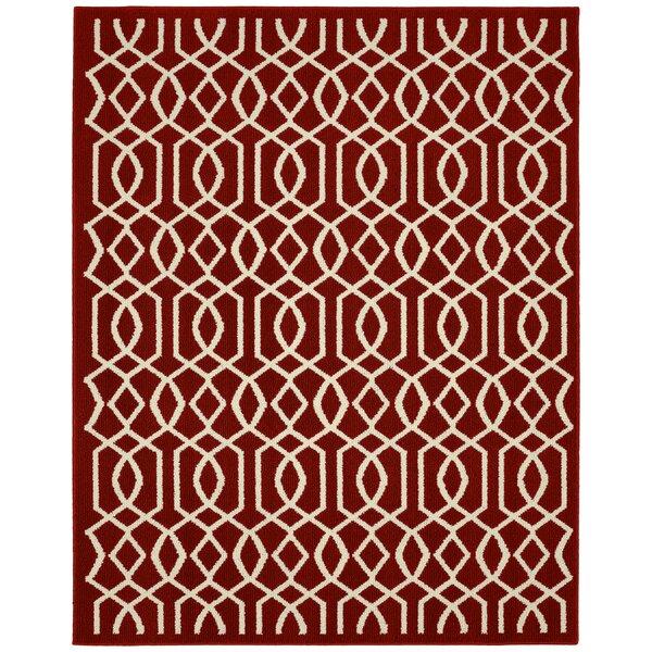 Fretwork Crimson/Ivory Area Rug by Garland Rug