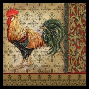 'Vintage Rooster' by Jean Plout Framed Graphic Art by Buy Art For Less