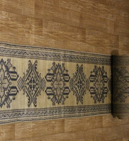 One-of-a-Kind VanVleet Hand-Knotted 1900s Oushak Beige/Brown 2'5 x 38'4 Runner Wool Area Rug