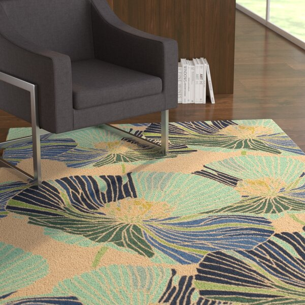 Athema Hand-Hooked Blue/Green/Beige Area Rug by Ebern Designs