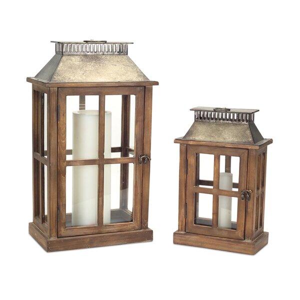 2 Piece Wood/Metal/Glass Lantern Set by Melrose International