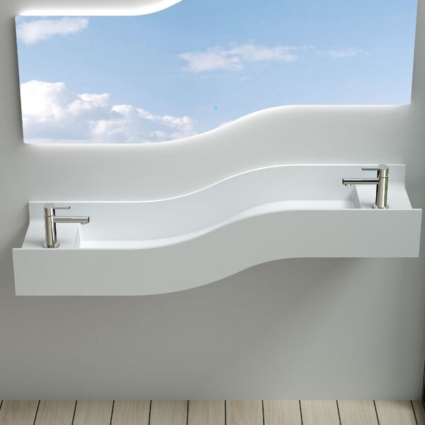 Left Wave Stone 55 Wall Mount Bathroom Sink by InFurniture