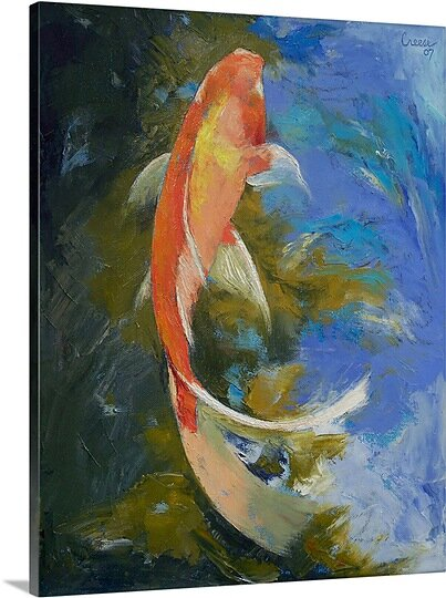 Butterfly Koi Painting by Michael Creese Painting Print on Canvas by Canvas On Demand