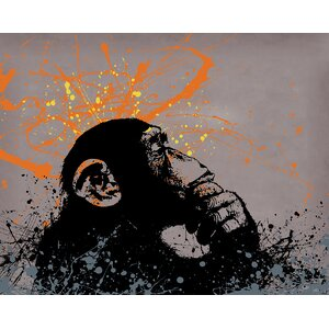 Thinker Monkey by Banksy Graphic Art on Wrapped Canvas by Jaxson Rea