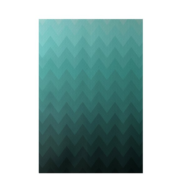 Chevron Aqua Indoor/Outdoor Area Rug by e by design