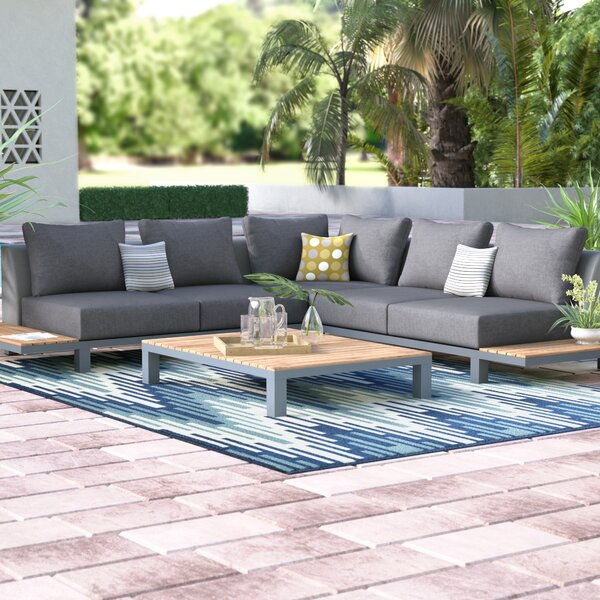 Corrine 4 Piece Teak Sectional Seating Group with Cushions by Wade Logan