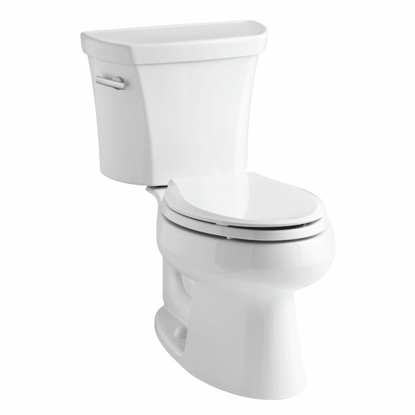 Wellworth Two-Piece Elongated 1.6 GPF Toilet with Class Five Flush Technology, Left-Hand Trip Lever and Tank Cover Locks by Kohler