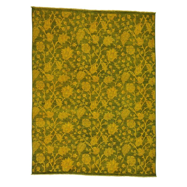 One-of-a-Kind Zuzanna Overdyed Hand-Knotted Yellow Area Rug by Bungalow Rose