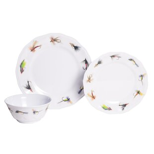 Timmons Fishing Flies Melamine 18 Piece Dinnerware Set Service for 6  sc 1 st  Wayfair : dinnerware service for 6 - pezcame.com