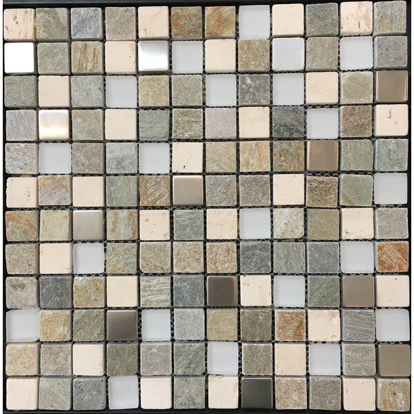 Pompeya Metal 1 x 1 Natural Stone Mosaic Tile in Beige by Kertiles