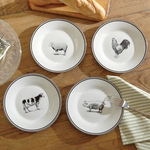 Farm Animals Ceramic Dessert Plates (Set of 4) & Farm Animal Dinnerware | Wayfair