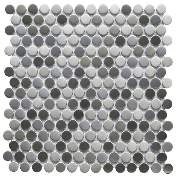 Trento 0.8 x 0.8 Metal Mosaic Tile in Silver by NovoTileStudio