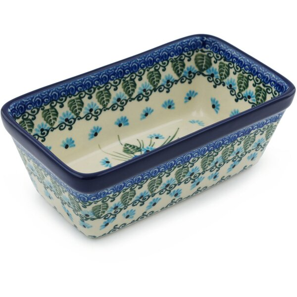 Forget Me Not Rectangular Non-Stick Polish Pottery Baker by Polmedia