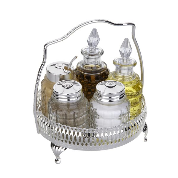 Queen Anne 6 Piece Round Cruet Set by Corbell Silver Company