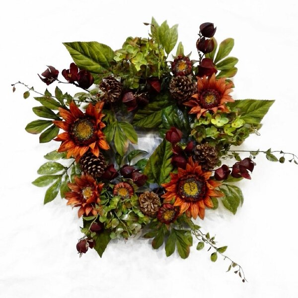 Autumn Elegance Sunflower Wreath by August Grove