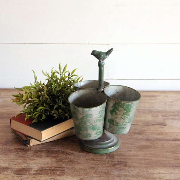 Lanham Buckets On Stand Metal Pot Planter by Ophelia & Co.