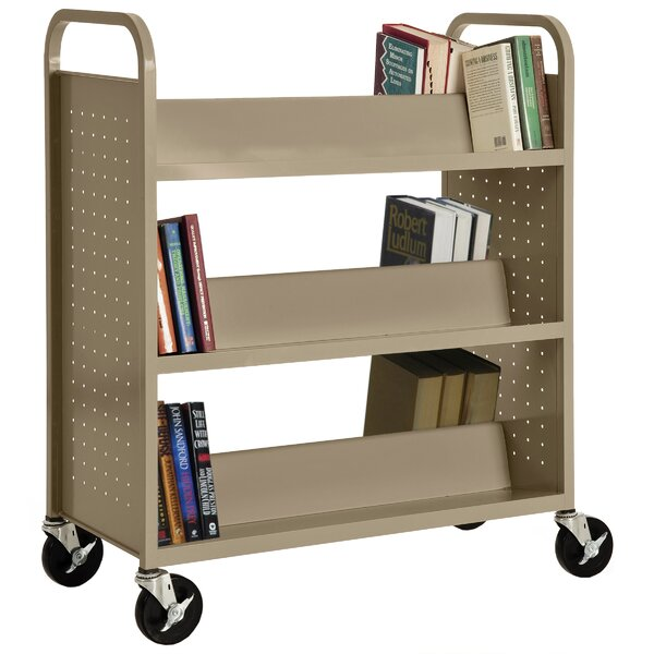 Double-Sided Sloped-Shelf Book Cart by Sandusky Cabinets