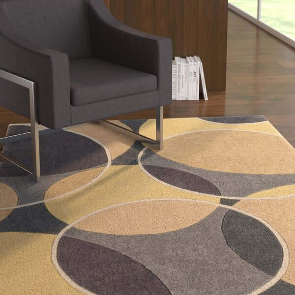 Deveau Hand-Tufted Geometric Area Rug by Ebern Designs