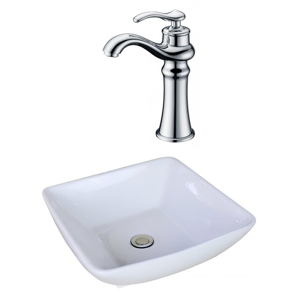 Ceramic Square Vessel Bathroom Sink with Faucet and Overflow by American Imaginations