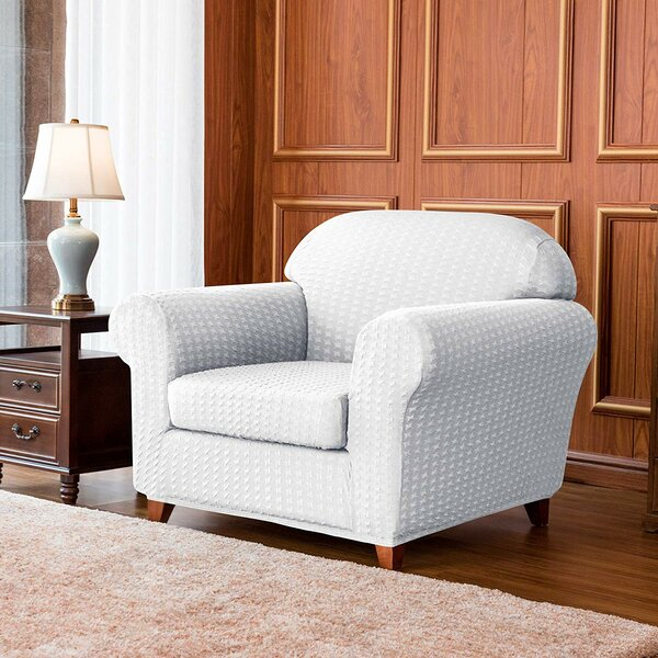 Jacquard Spandex Stretch Box Cushion Armchair Slipcover By Winston Porter