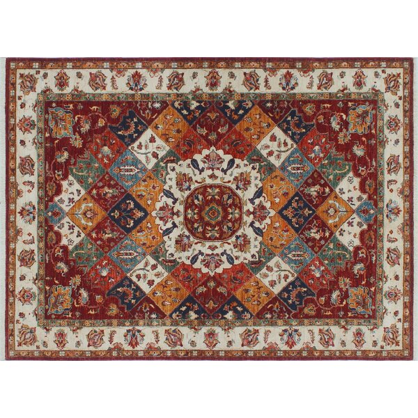 One-of-a-Kind Vernell Geometric Hand-Knotted Red Wool Area Rug by Isabelline