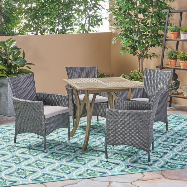 Lincolnwood Outdoor 5 Piece Dining Set with Cushions by Bungalow Rose