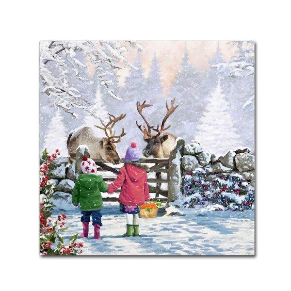 Reindeer Pair Print On Canvas By Trademark Fine Art.