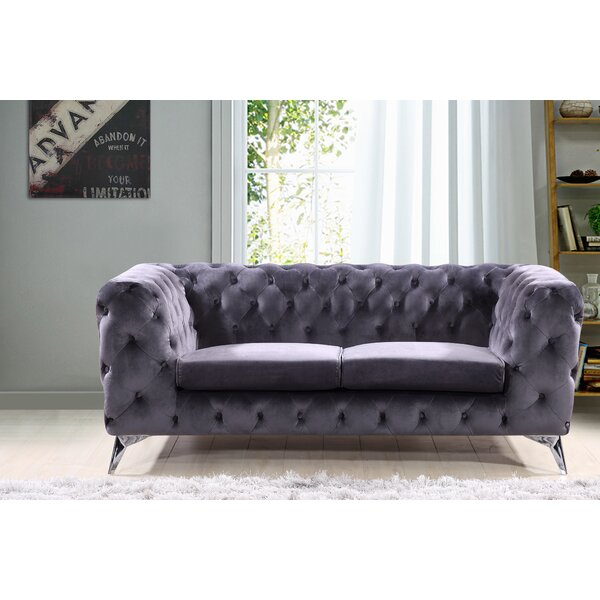 Expert Reviews Khan Chesterfield Loveseat by Mercer41 by Mercer41