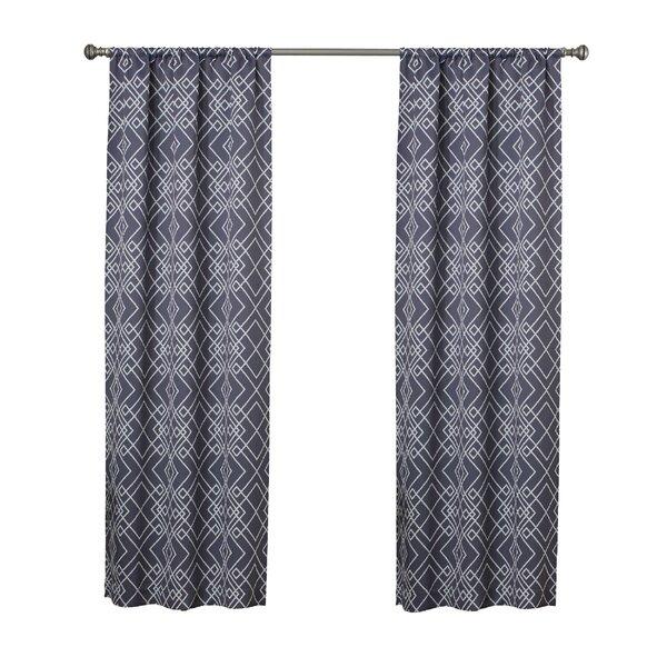 Amarillo Thermaweave Geometric Room Darkening Rod Pocket Single Curtain Panel by Langley Street