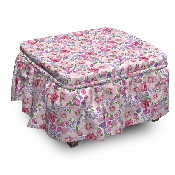 Fresh Spring Flora 2 Piece Box Cushion Ottoman Slipcover Set By East Urban Home