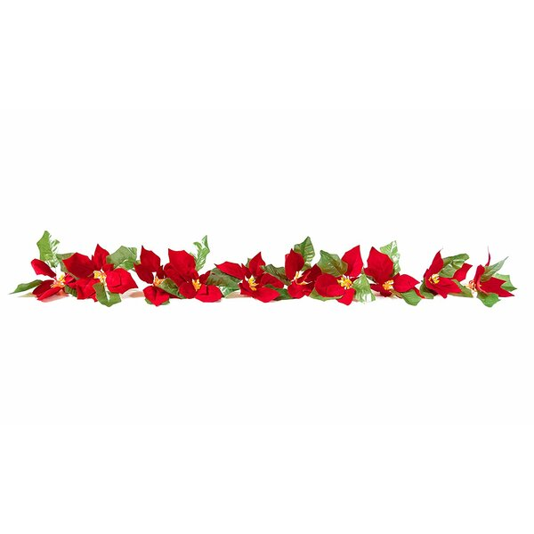 Lighted Poinsettia Flower Garland with LED Lights by The Holiday Aisle