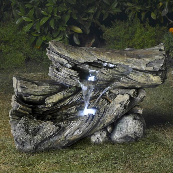 Wood Alpine Outdoor/Indoor Water Fountain with Light by Jeco Inc.