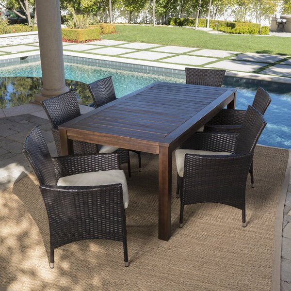 Appel Outdoor 7 Piece Dining Set with Cushions by Brayden Studio