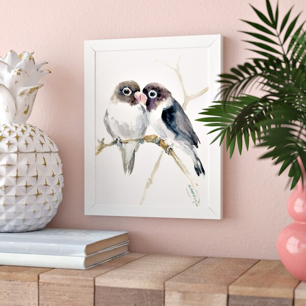 Gray Masked Lovebirds Framed Painting Print by Bay Isle Home