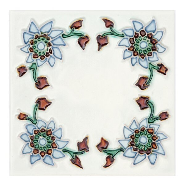 6 x 6 Ceramic Hand Painted Decorative Accent Tile in Primavera (Set of 10) by Solistone