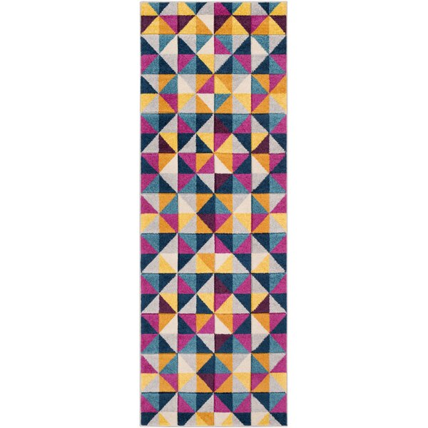 Puleo Geometric Gray/Blue Area Rug by Wrought Studio