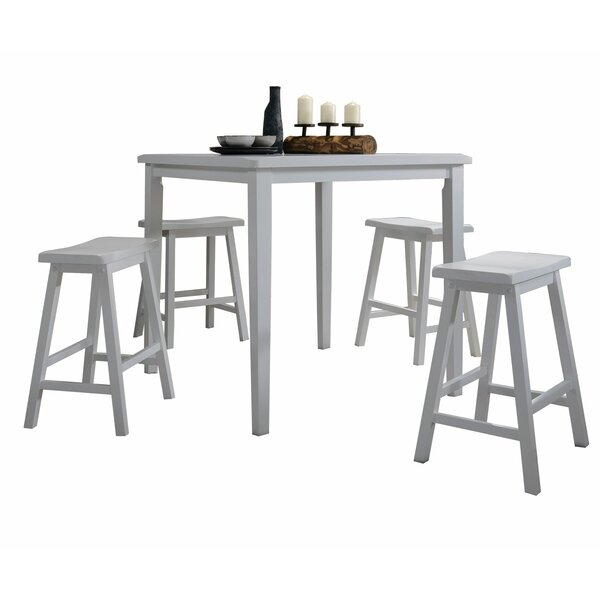 Hendon 5 Piece Counter Height Solid Wood Dining Set by Charlton Home