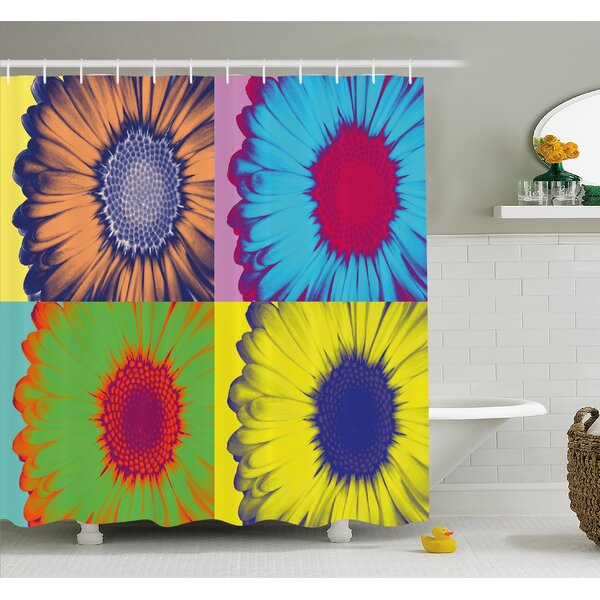 Pop Art Inspired Colorful Kitschy Daisy Flower Hard-Edged Western Design Shower Curtain Set by Ambesonne