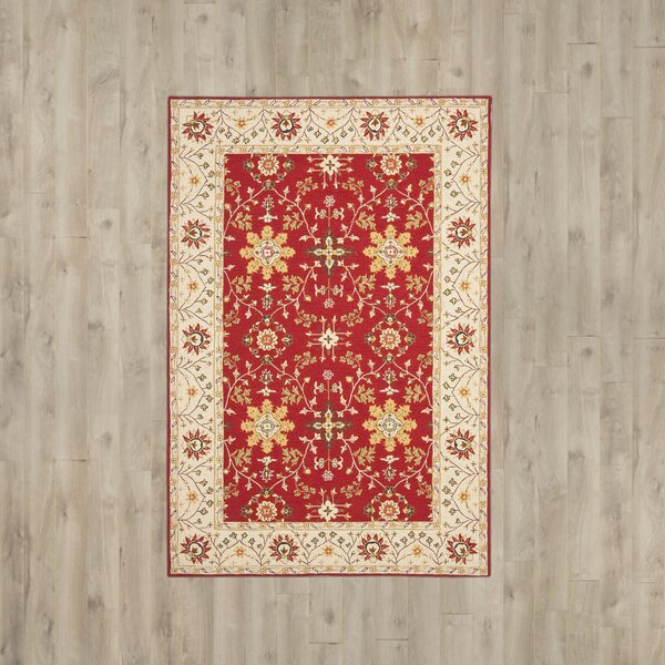 Driffield Hand-Hooked Red/Ivory Indoor/Outdoor Area Rug by Charlton Home Charlton Home