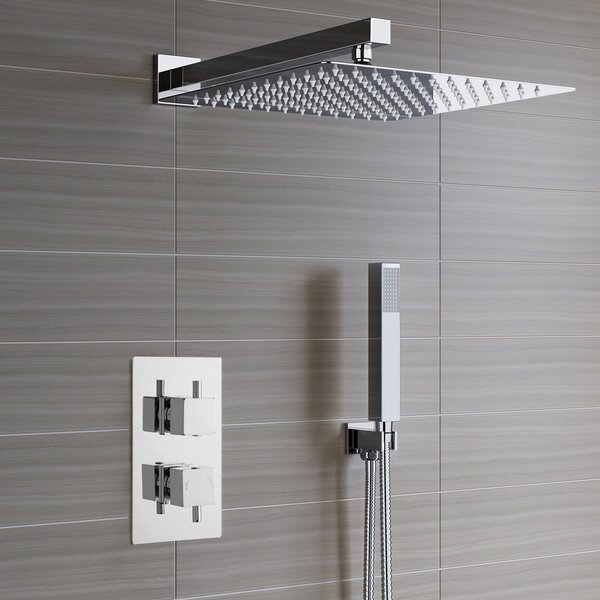 Lima Ultra Thin Rain Head Thermostatic Complete Shower System with Rough-in-Valve by FontanaShowers FontanaShowers