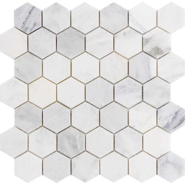 Winter Hex Mix 2 x 2 Marble Mosaic Tile in Frost by Emser Tile