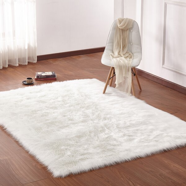 Maria Hand-Woven Faux Fur Ivory Area Rug by Mercer41