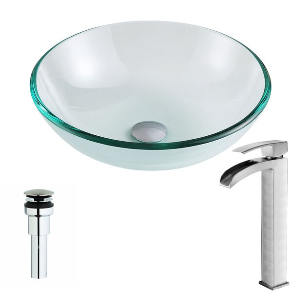 Etude Glass Circular Vessel Bathroom Sink with Faucet by ANZZI