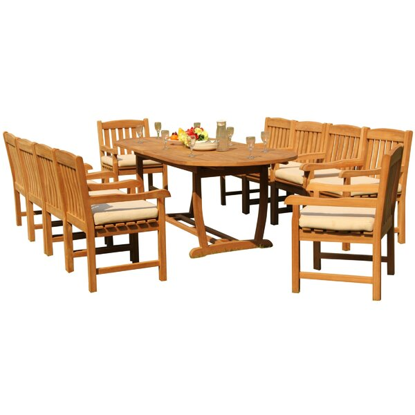 Mashburn 11 Piece Teak Dining Set by Rosecliff Heights