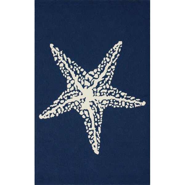Dashiell Hand-Woven Navy Indoor/Outdoor Area Rug by Beachcrest Home
