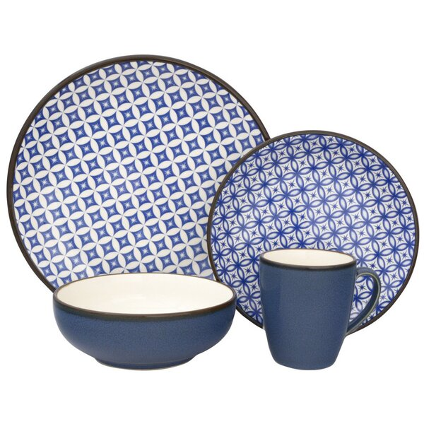 Crystal 16 Piece Dinnerware Set, Service for 4 by Sango