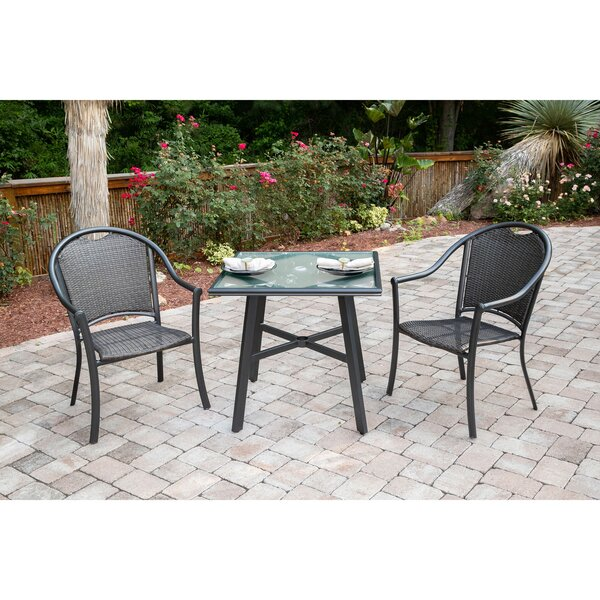 Bearden 3-Piece Commercial-Grade Patio Set with 2 Woven Dining Chairs and a 30-In. Glass-Top Bistro Table by Charlton Home