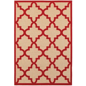 Winchcombe Sand/Cherry Red Outdoor Area Rug